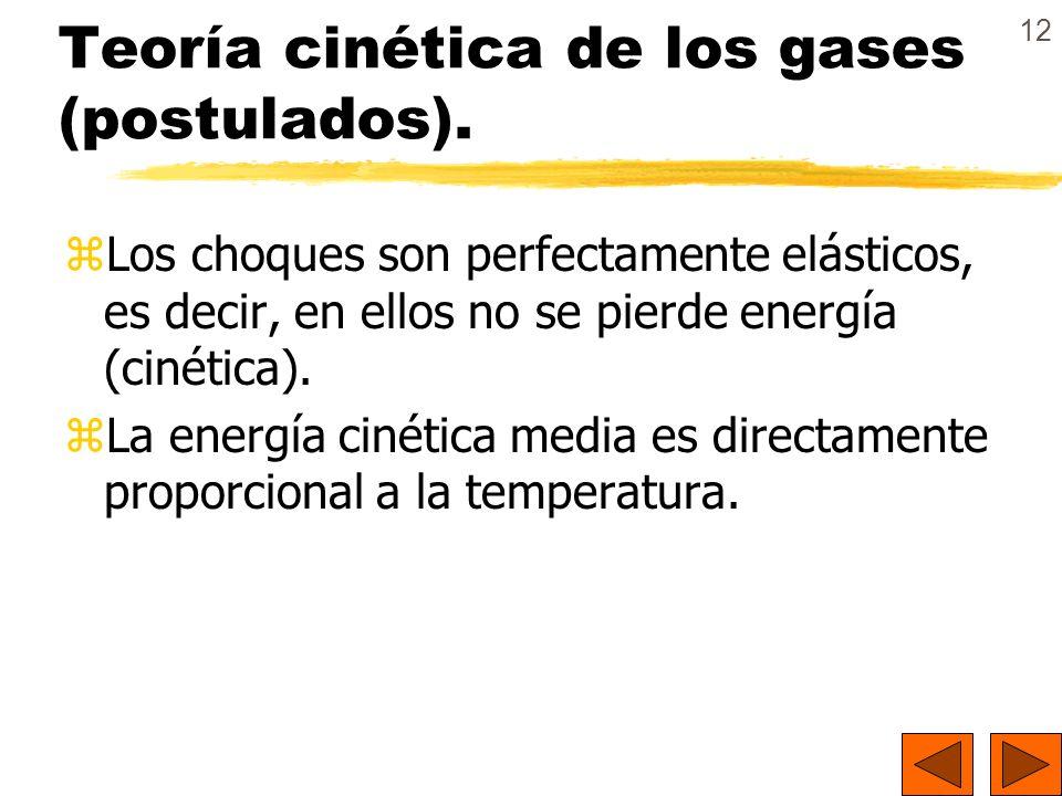 12 Teoría cinética de los gases (postulados). zLos choques son perfectamente elásticos, es decir, en ellos no se pierde energía (cinética). zLa energí