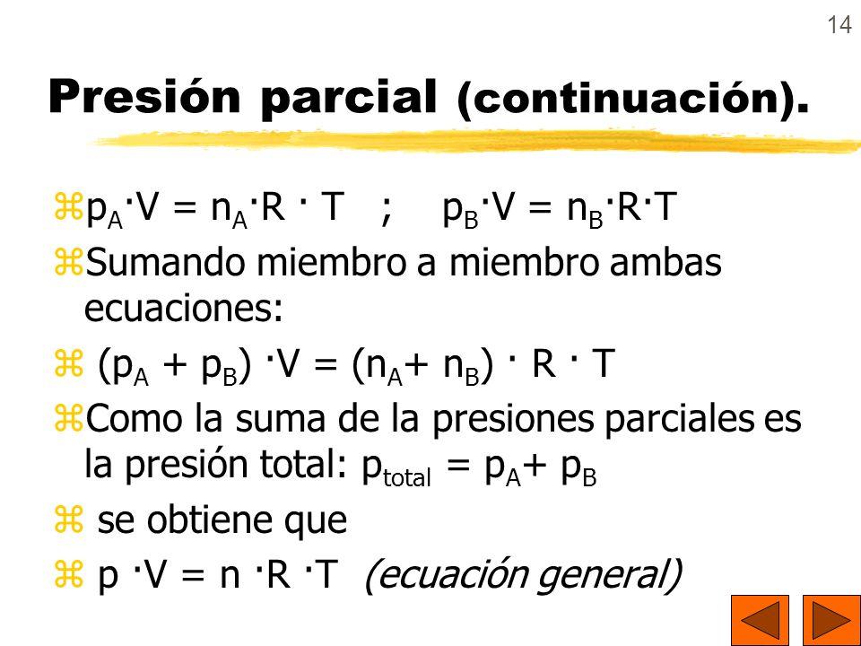 14 Presión parcial (continuación). zp A ·V = n A ·R · T ; p B ·V = n B ·R·T zSumando miembro a miembro ambas ecuaciones: z (p A + p B ) ·V = (n A + n