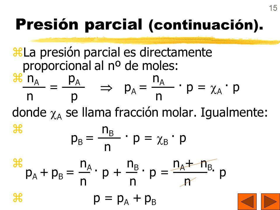 15 Presión parcial (continuación). zLa presión parcial es directamente proporcional al nº de moles: z n A p A n A = p A = · p = A · p n p n donde A se