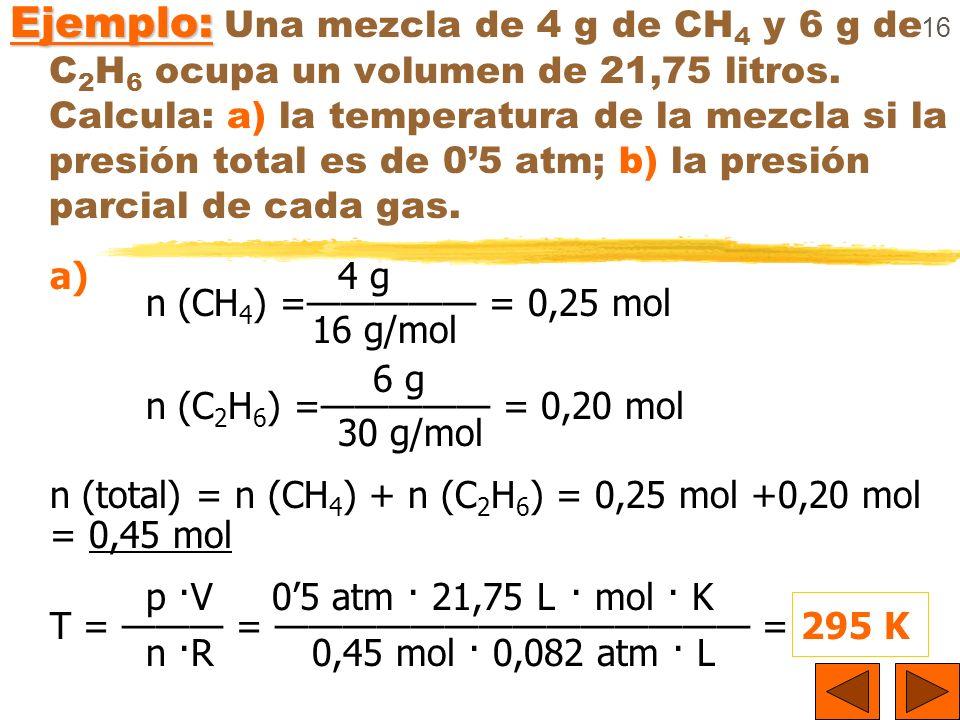16 Ejemplo: Ejemplo: Una mezcla de 4 g de CH 4 y 6 g de C 2 H 6 ocupa un volumen de 21,75 litros. Calcula: a) la temperatura de la mezcla si la presió