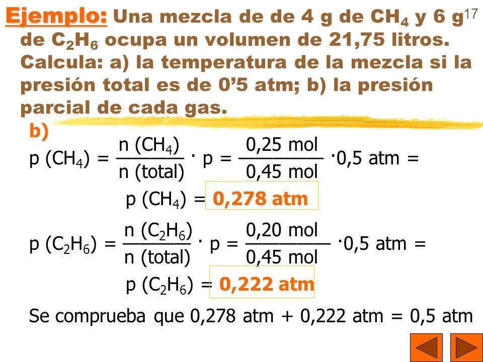 17 Ejemplo: Ejemplo: Una mezcla de de 4 g de CH 4 y 6 g de C 2 H 6 ocupa un volumen de 21,75 litros. Calcula: a) la temperatura de la mezcla si la pre