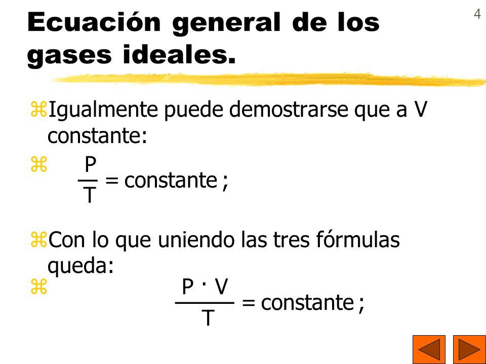4 Ecuación general de los gases ideales. zIgualmente puede demostrarse que a V constante: z P = constante ; T zCon lo que uniendo las tres fórmulas qu