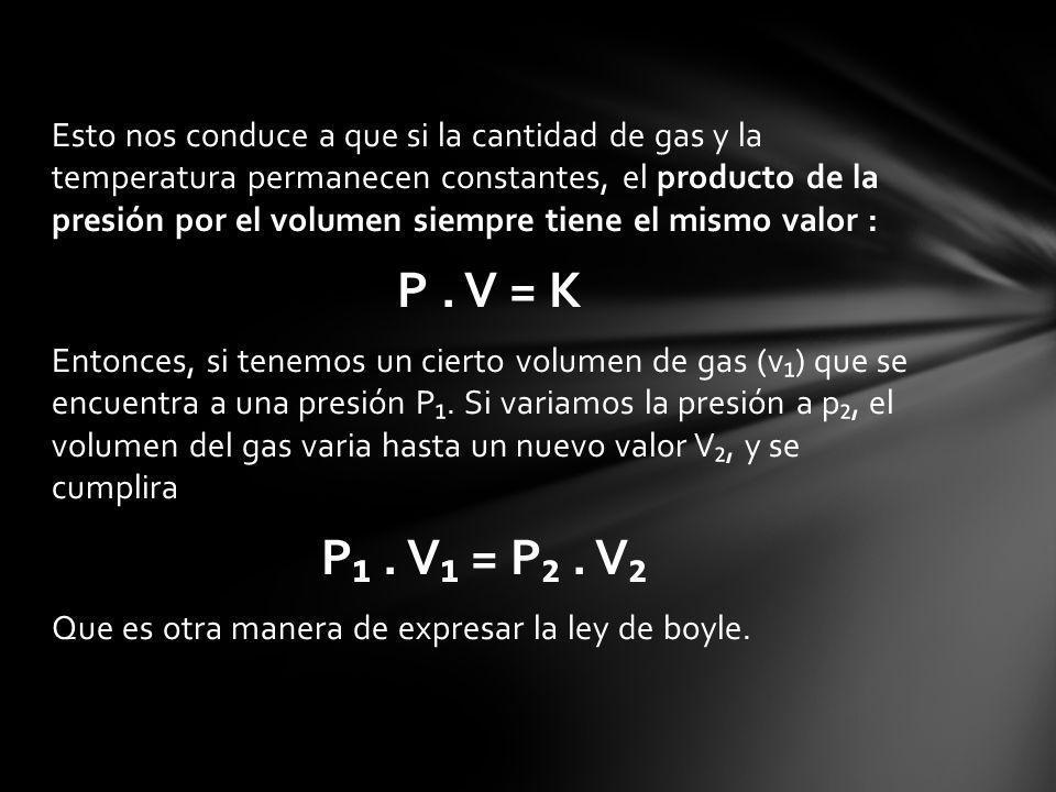 Esto nos conduce a que si la cantidad de gas y la temperatura permanecen constantes, el producto de la presión por el volumen siempre tiene el mismo valor : P.
