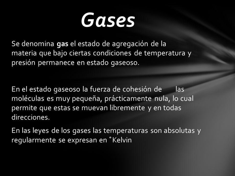 Se denomina gas el estado de agregación de la materia que bajo ciertas condiciones de temperatura y presión permanece en estado gaseoso.