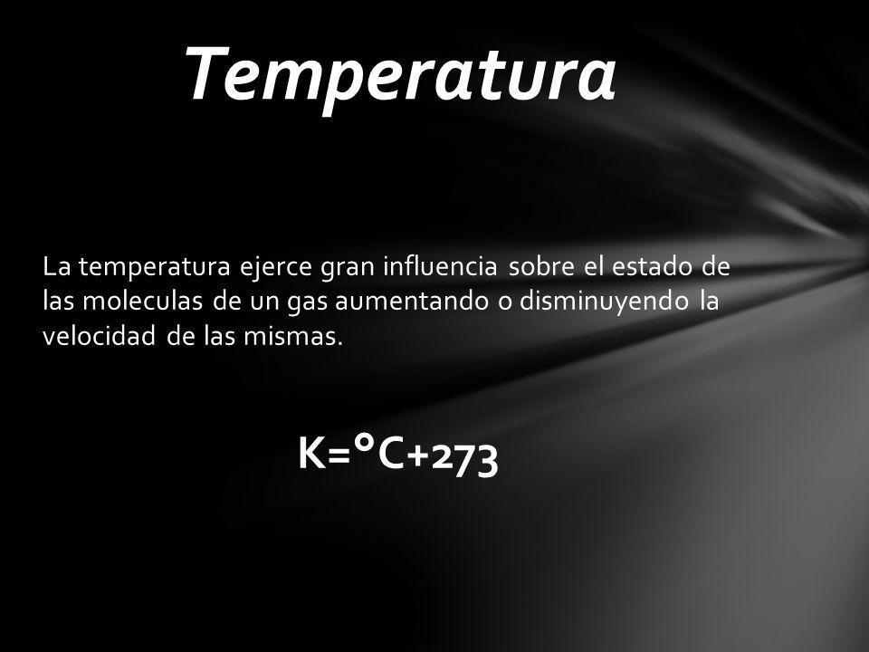 La temperatura ejerce gran influencia sobre el estado de las moleculas de un gas aumentando o disminuyendo la velocidad de las mismas. K=°C+273 Temper