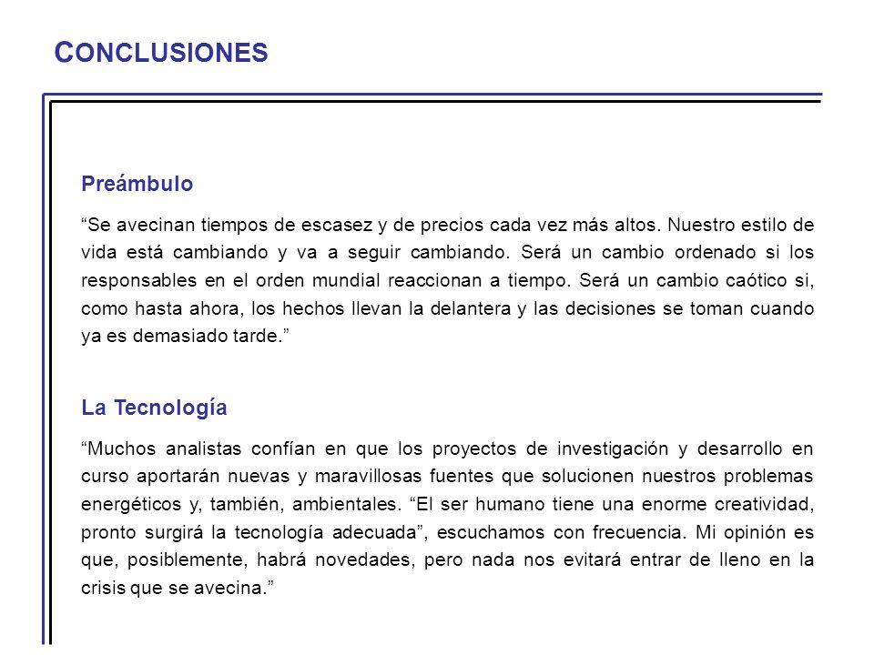 C ONCLUSIONES Preámbulo Se avecinan tiempos de escasez y de precios cada vez más altos.