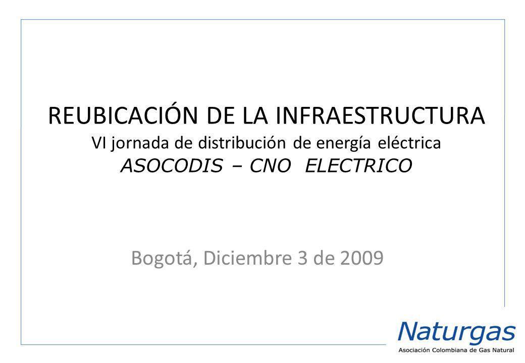 REUBICACIÓN DE LA INFRAESTRUCTURA VI jornada de distribución de energía eléctrica ASOCODIS – CNO ELECTRICO Bogotá, Diciembre 3 de 2009