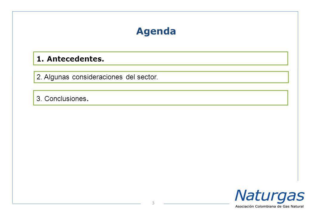 3 Agenda 2. Algunas consideraciones del sector. 1. Antecedentes. 3. Conclusiones.