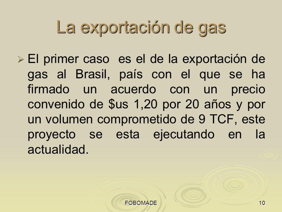 FOBOMADE10 La exportación de gas El primer caso es el de la exportación de gas al Brasil, país con el que se ha firmado un acuerdo con un precio convenido de $us 1,20 por 20 años y por un volumen comprometido de 9 TCF, este proyecto se esta ejecutando en la actualidad.