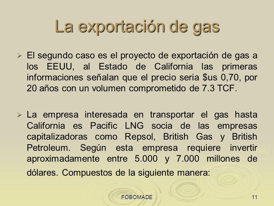 FOBOMADE11 La exportación de gas El segundo caso es el proyecto de exportación de gas a los EEUU, al Estado de California las primeras informaciones señalan que el precio seria $us 0,70, por 20 años con un volumen comprometido de 7.3 TCF.