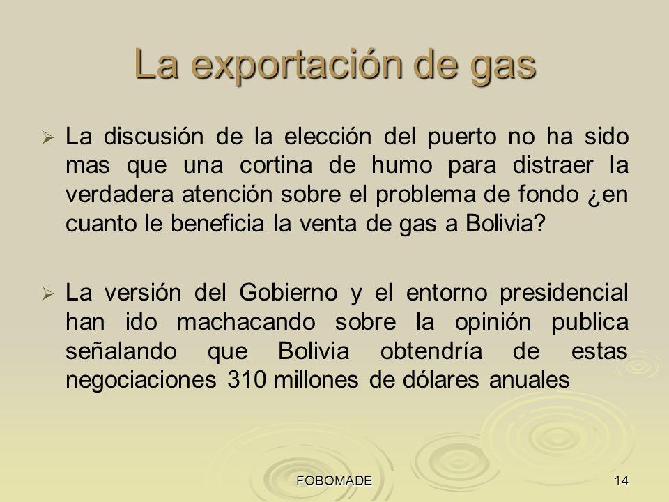 FOBOMADE14 La exportación de gas La discusión de la elección del puerto no ha sido mas que una cortina de humo para distraer la verdadera atención sobre el problema de fondo ¿en cuanto le beneficia la venta de gas a Bolivia.