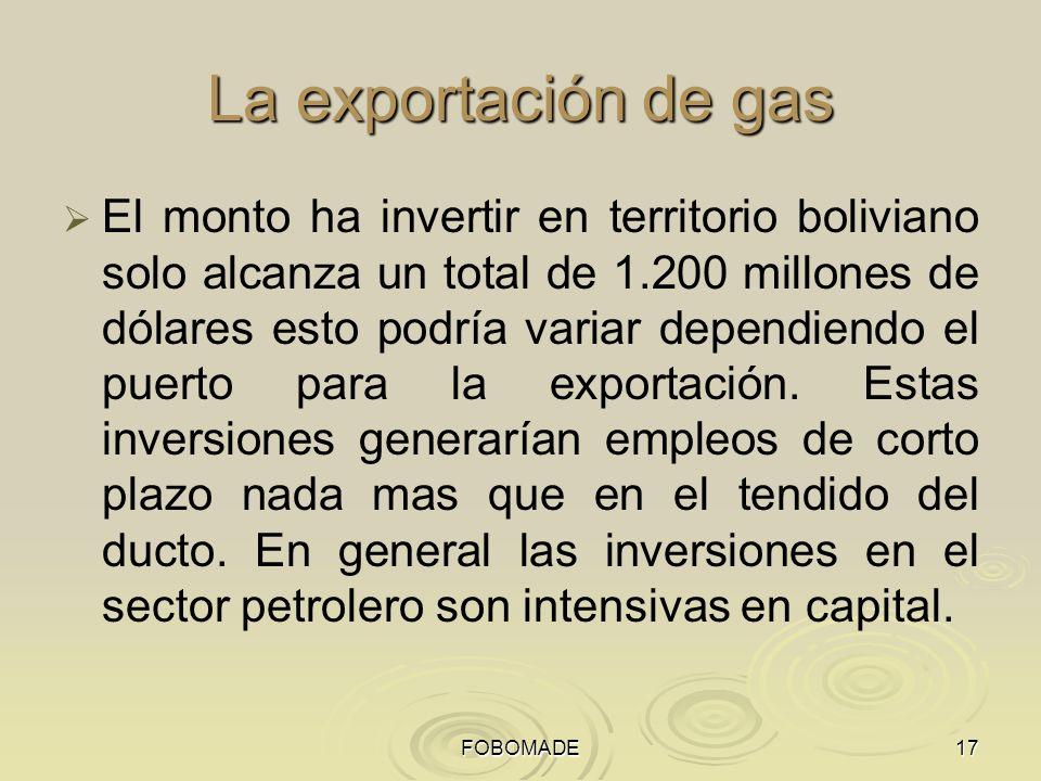 FOBOMADE17 La exportación de gas El monto ha invertir en territorio boliviano solo alcanza un total de 1.200 millones de dólares esto podría variar dependiendo el puerto para la exportación.