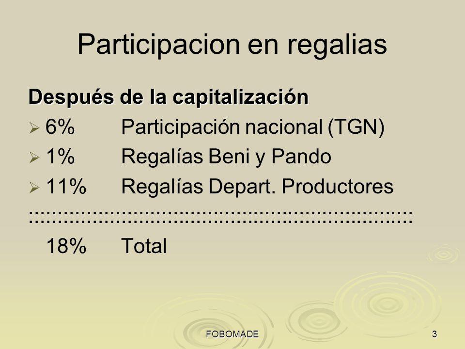 FOBOMADE3 Participacion en regalias Después de la capitalización 6%Participación nacional (TGN) 1% Regalías Beni y Pando 11%Regalías Depart. Productor