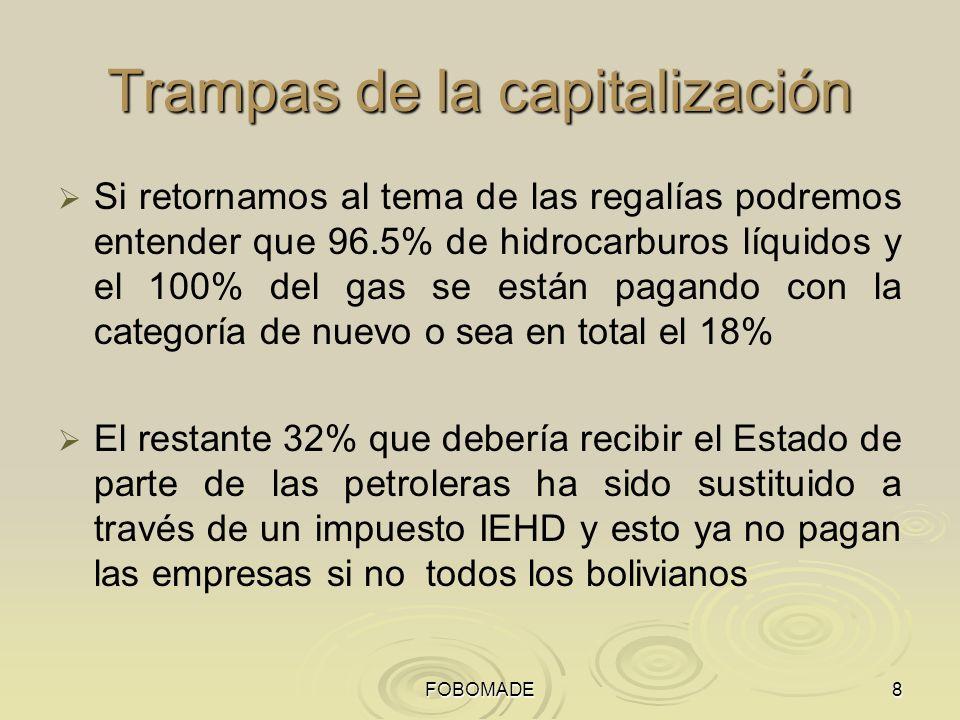 FOBOMADE8 Trampas de la capitalización Si retornamos al tema de las regalías podremos entender que 96.5% de hidrocarburos líquidos y el 100% del gas se están pagando con la categoría de nuevo o sea en total el 18% El restante 32% que debería recibir el Estado de parte de las petroleras ha sido sustituido a través de un impuesto IEHD y esto ya no pagan las empresas si no todos los bolivianos