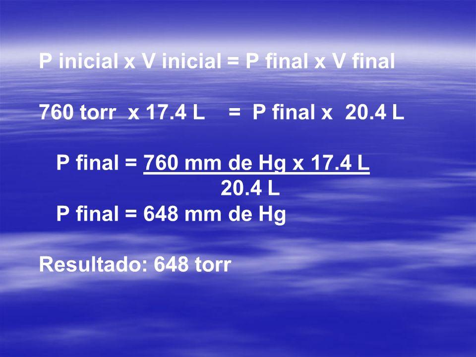 P inicial x V inicial = P nal x V nal 760 torr x 17.4 L = P final x 20.4 L P nal = 760 mm de Hg x 17.4 L 20.4 L P nal = 648 mm de Hg Resultado: 648 to