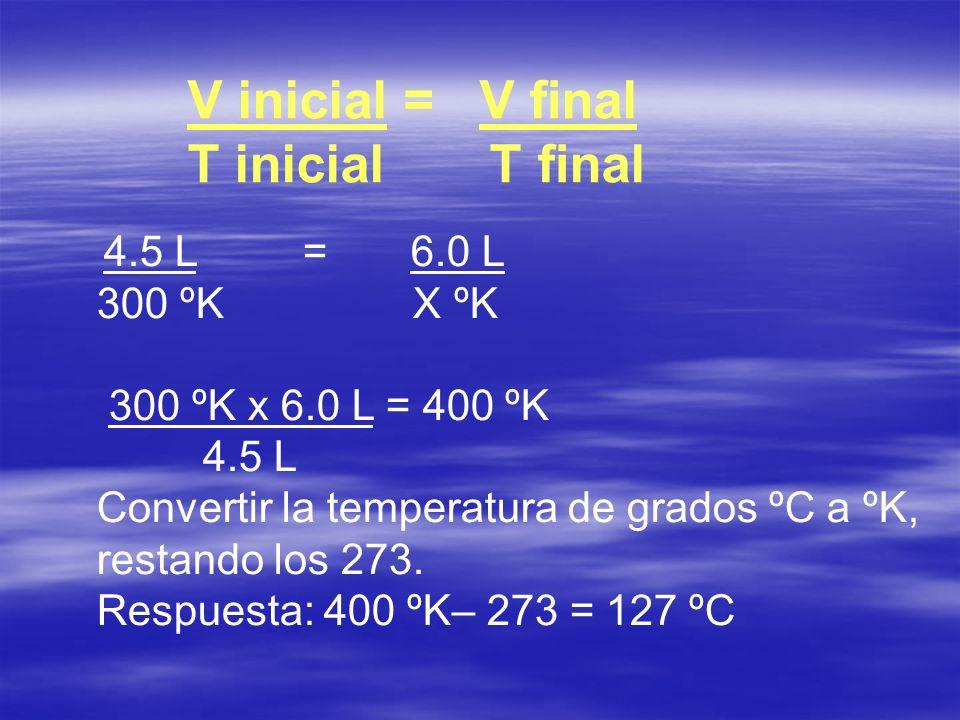 V inicial = V nal T inicial T nal 4.5 L = 6.0 L 300 ºK X ºK 300 ºK x 6.0 L = 400 ºK 4.5 L Convertir la temperatura de grados ºC a ºK, restando los 273