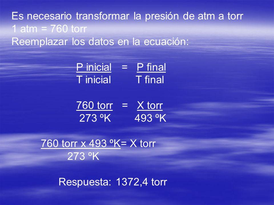 Es necesario transformar la presión de atm a torr 1 atm = 760 torr Reemplazar los datos en la ecuación: P inicial = P nal T inicial T nal 760 torr = X