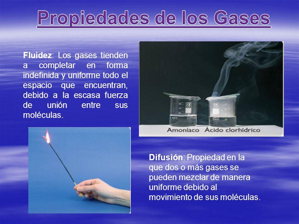 Fluidez: Los gases tienden a completar en forma indefinida y uniforme todo el espacio que encuentran, debido a la escasa fuerza de unión entre sus mol