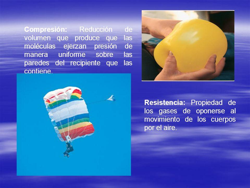 Compresión: Reducción de volumen que produce que las moléculas ejerzan presión de manera uniforme sobre las paredes del recipiente que las contiene. R