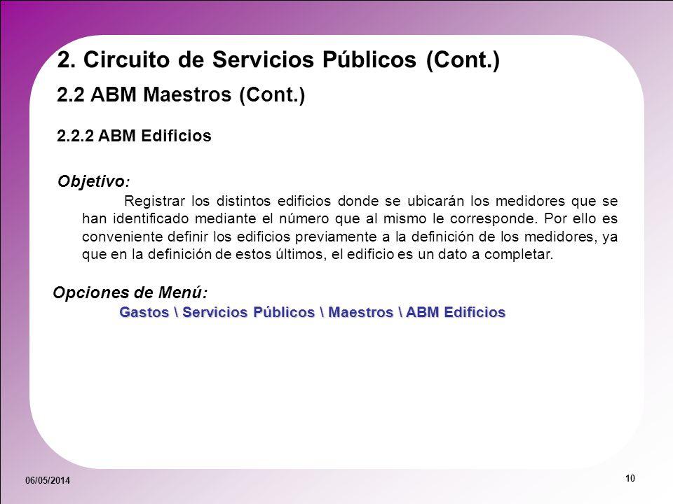 06/05/2014 10 Objetivo : Registrar los distintos edificios donde se ubicarán los medidores que se han identificado mediante el número que al mismo le