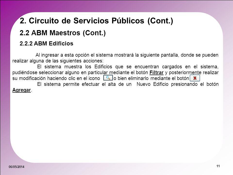 06/05/2014 11 2.2.2 ABM Edificios 2.2 ABM Maestros (Cont.) 2. Circuito de Servicios Públicos (Cont.) Al ingresar a esta opción el sistema mostrará la