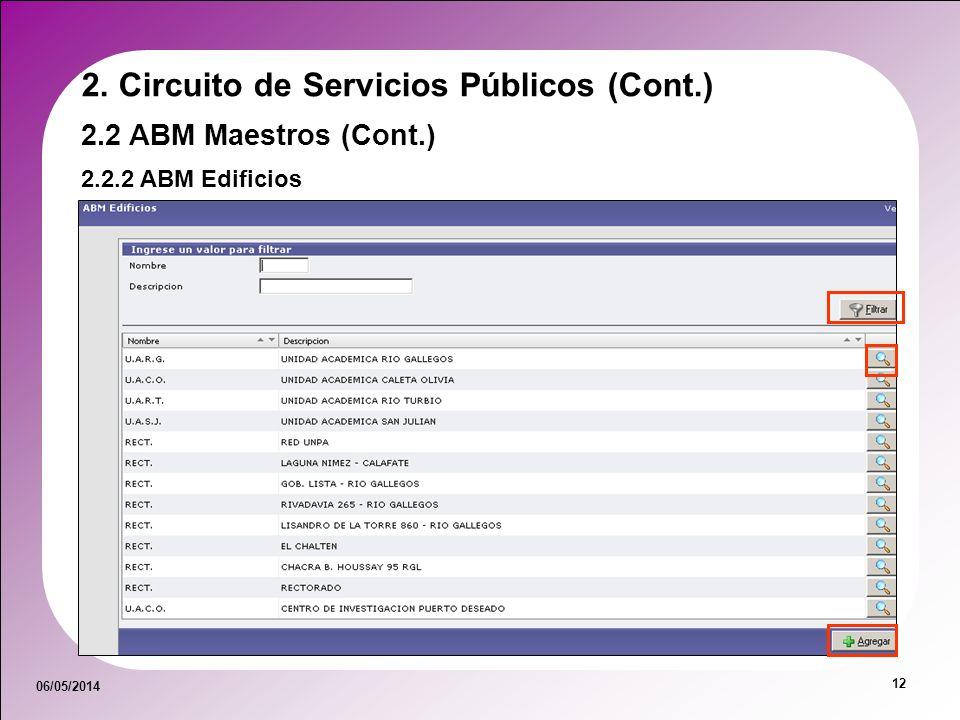 06/05/2014 12 2.2.2 ABM Edificios 2.2 ABM Maestros (Cont.) 2. Circuito de Servicios Públicos (Cont.)