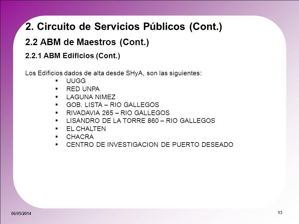 06/05/2014 13 2.2 ABM de Maestros (Cont.) 2.2.1 ABM Edificios (Cont.) 2. Circuito de Servicios Públicos (Cont.) Los Edificios dados de alta desde SHyA