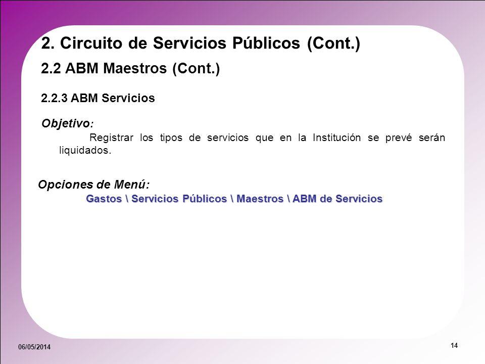 06/05/2014 14 Opciones de Menú: Gastos \ Servicios Públicos \ Maestros \ ABM de Servicios 2.2.3 ABM Servicios 2.2 ABM Maestros (Cont.) 2. Circuito de