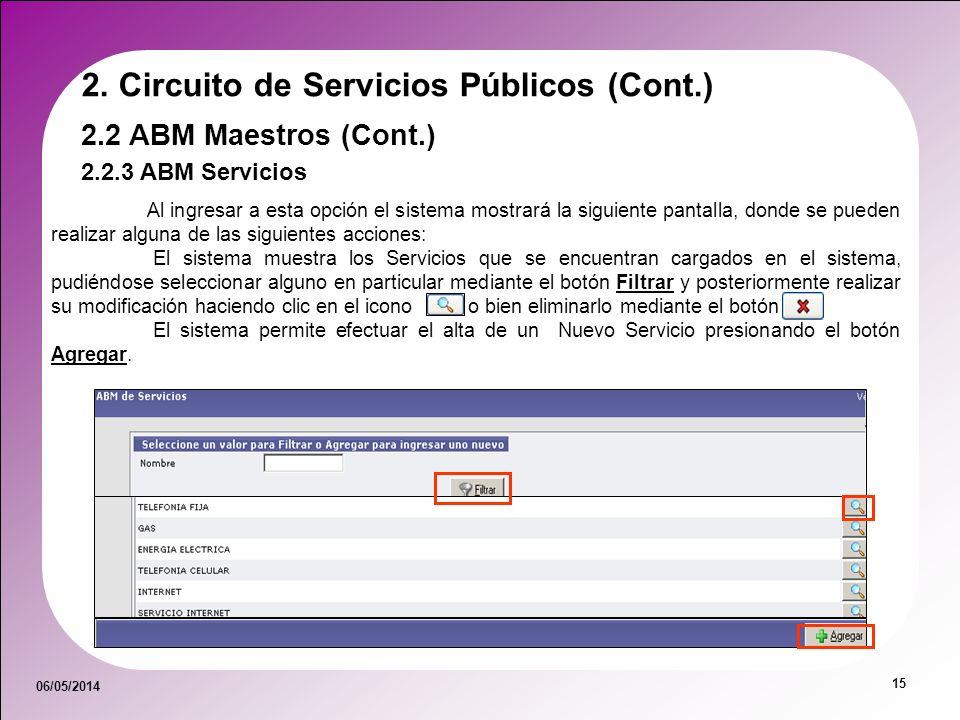 06/05/2014 15 2.2.3 ABM Servicios 2.2 ABM Maestros (Cont.) 2. Circuito de Servicios Públicos (Cont.) Al ingresar a esta opción el sistema mostrará la