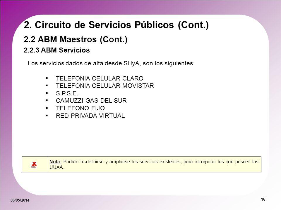 06/05/2014 16 2.2.3 ABM Servicios 2.2 ABM Maestros (Cont.) 2. Circuito de Servicios Públicos (Cont.) Los servicios dados de alta desde SHyA, son los s