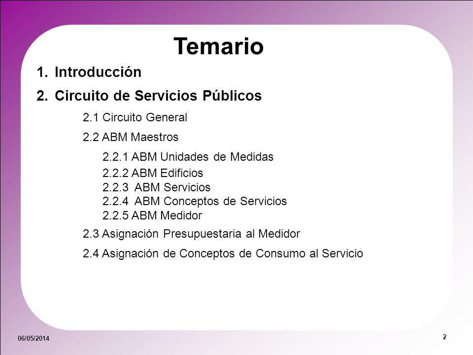 06/05/2014 2 Temario 1.Introducción 2.Circuito de Servicios Públicos 2.1 Circuito General 2.2 ABM Maestros 2.2.1 ABM Unidades de Medidas 2.2.2 ABM Edi