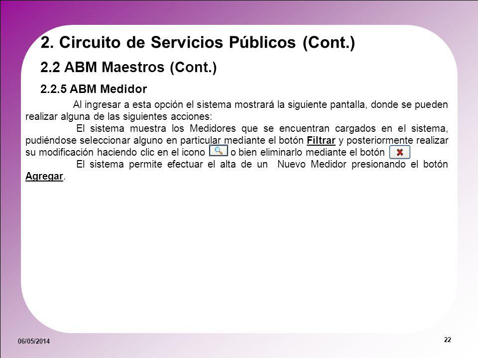 06/05/2014 22 2.2.5 ABM Medidor 2.2 ABM Maestros (Cont.) 2. Circuito de Servicios Públicos (Cont.) Al ingresar a esta opción el sistema mostrará la si