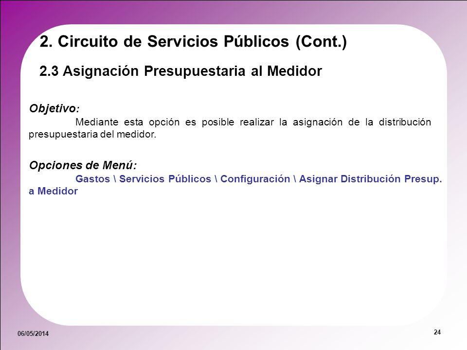 06/05/2014 24 2.3 Asignación Presupuestaria al Medidor Objetivo : Mediante esta opción es posible realizar la asignación de la distribución presupuest