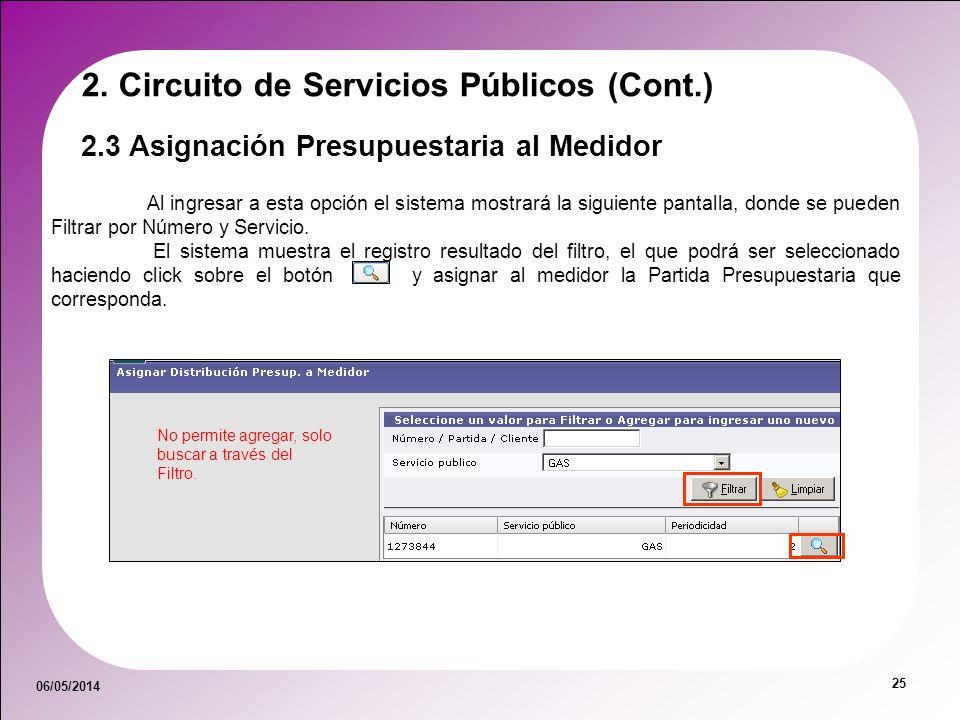 06/05/2014 25 2.3 Asignación Presupuestaria al Medidor 2. Circuito de Servicios Públicos (Cont.) Al ingresar a esta opción el sistema mostrará la sigu