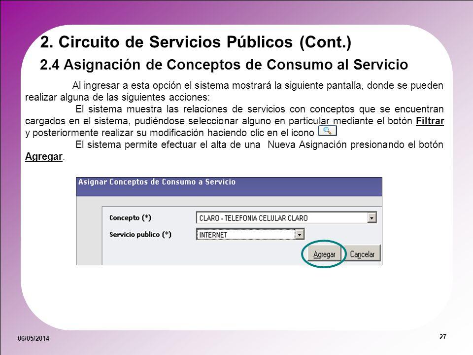 06/05/2014 27 2.4 Asignación de Conceptos de Consumo al Servicio 2. Circuito de Servicios Públicos (Cont.) Al ingresar a esta opción el sistema mostra