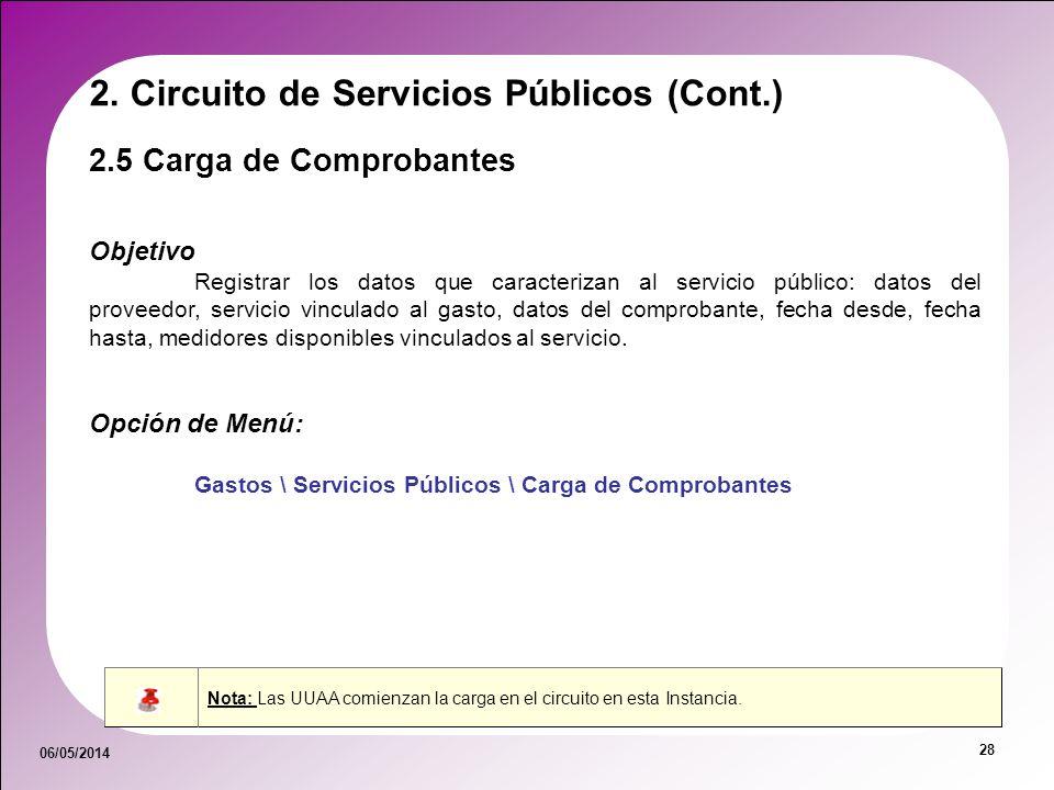06/05/2014 28 2.5 Carga de Comprobantes 2. Circuito de Servicios Públicos (Cont.) Objetivo Registrar los datos que caracterizan al servicio público: d