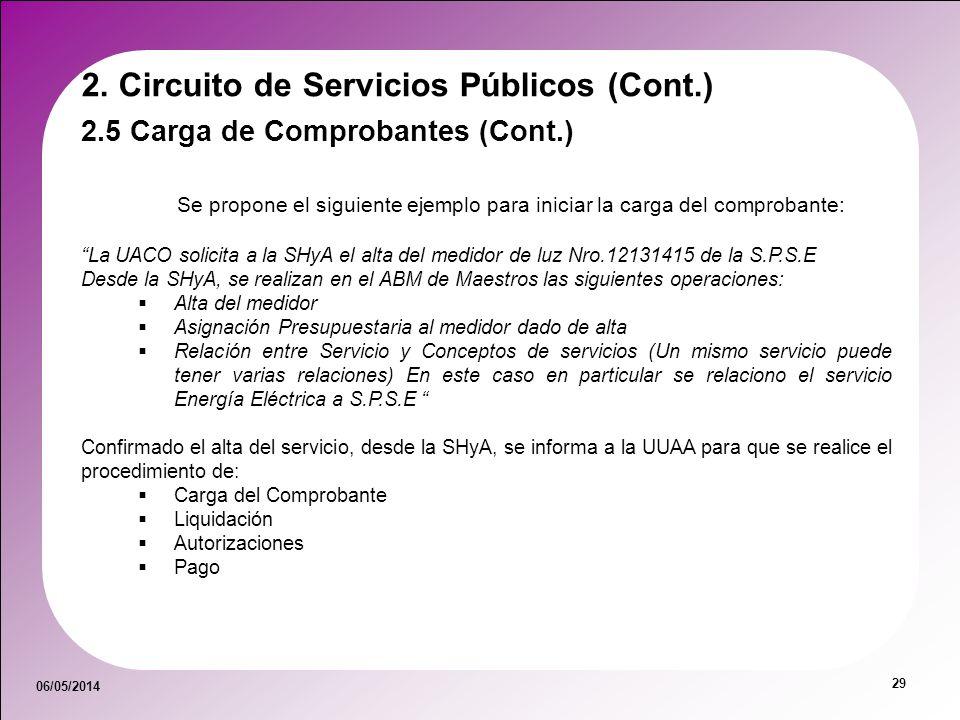 06/05/2014 29 2.5 Carga de Comprobantes (Cont.) 2. Circuito de Servicios Públicos (Cont.) Se propone el siguiente ejemplo para iniciar la carga del co