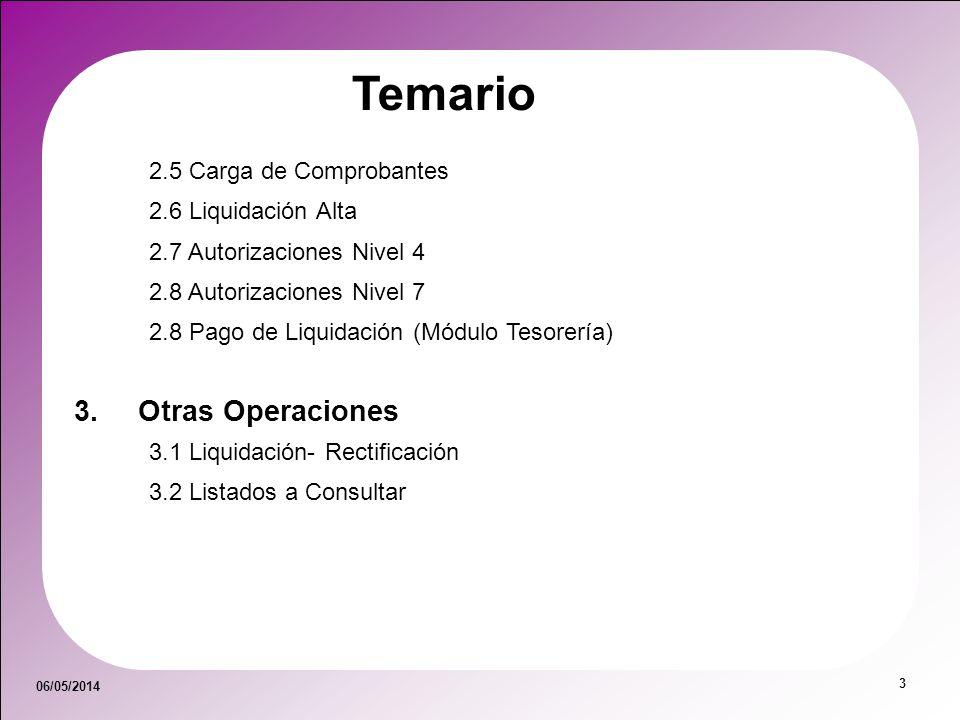 06/05/2014 3 Temario 2.5 Carga de Comprobantes 2.6 Liquidación Alta 2.7 Autorizaciones Nivel 4 2.8 Autorizaciones Nivel 7 2.8 Pago de Liquidación (Mód