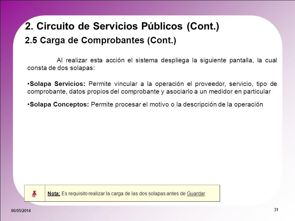 06/05/2014 31 2.5 Carga de Comprobantes (Cont.) 2. Circuito de Servicios Públicos (Cont.) Al realizar esta acción el sistema despliega la siguiente pa