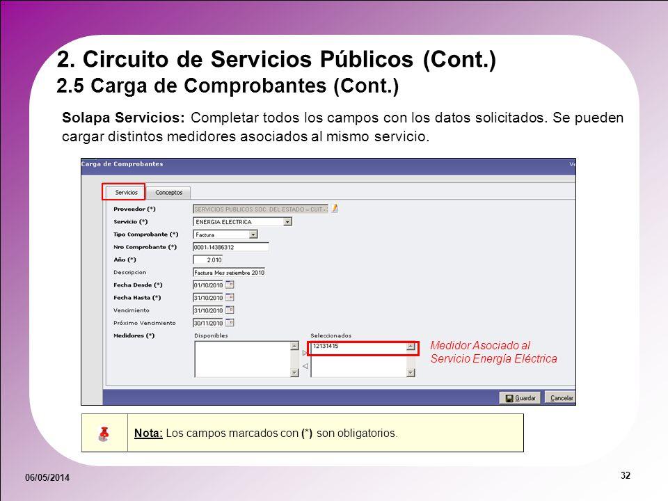 06/05/2014 32 2.5 Carga de Comprobantes (Cont.) 2. Circuito de Servicios Públicos (Cont.) Solapa Servicios: Completar todos los campos con los datos s