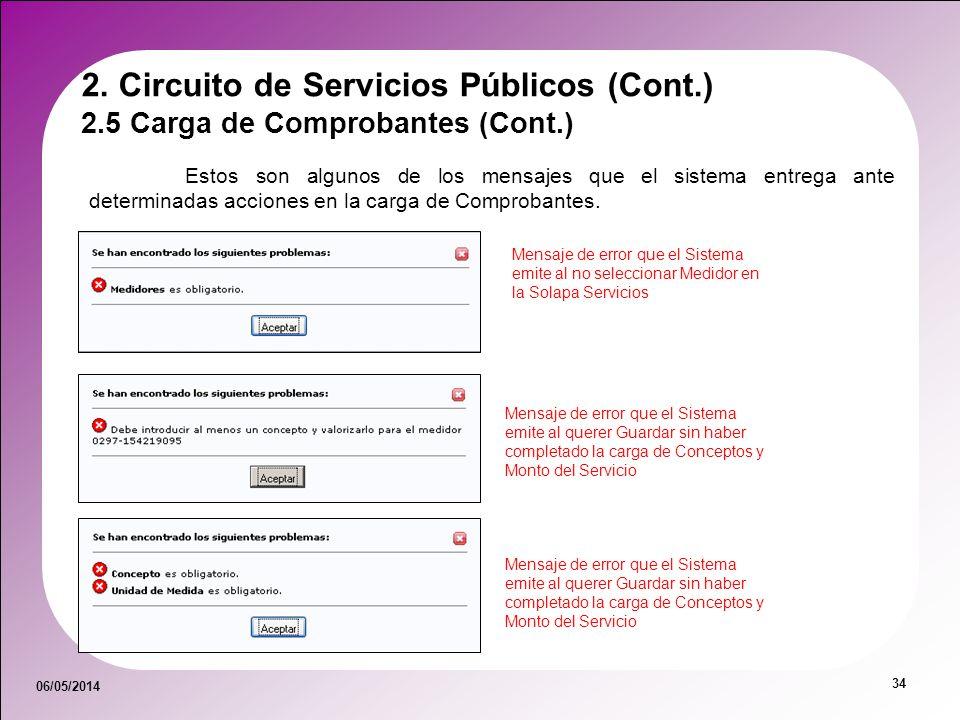 06/05/2014 34 2.5 Carga de Comprobantes (Cont.) 2. Circuito de Servicios Públicos (Cont.) Estos son algunos de los mensajes que el sistema entrega ant