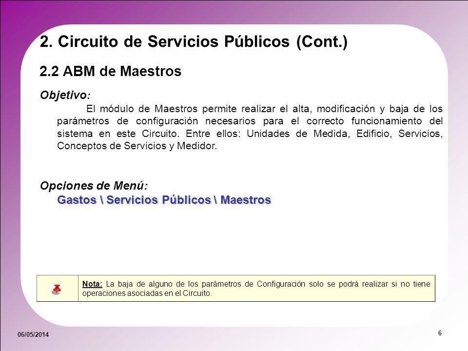 06/05/2014 6 2.2 ABM de Maestros Objetivo : El módulo de Maestros permite realizar el alta, modificación y baja de los parámetros de configuración nec