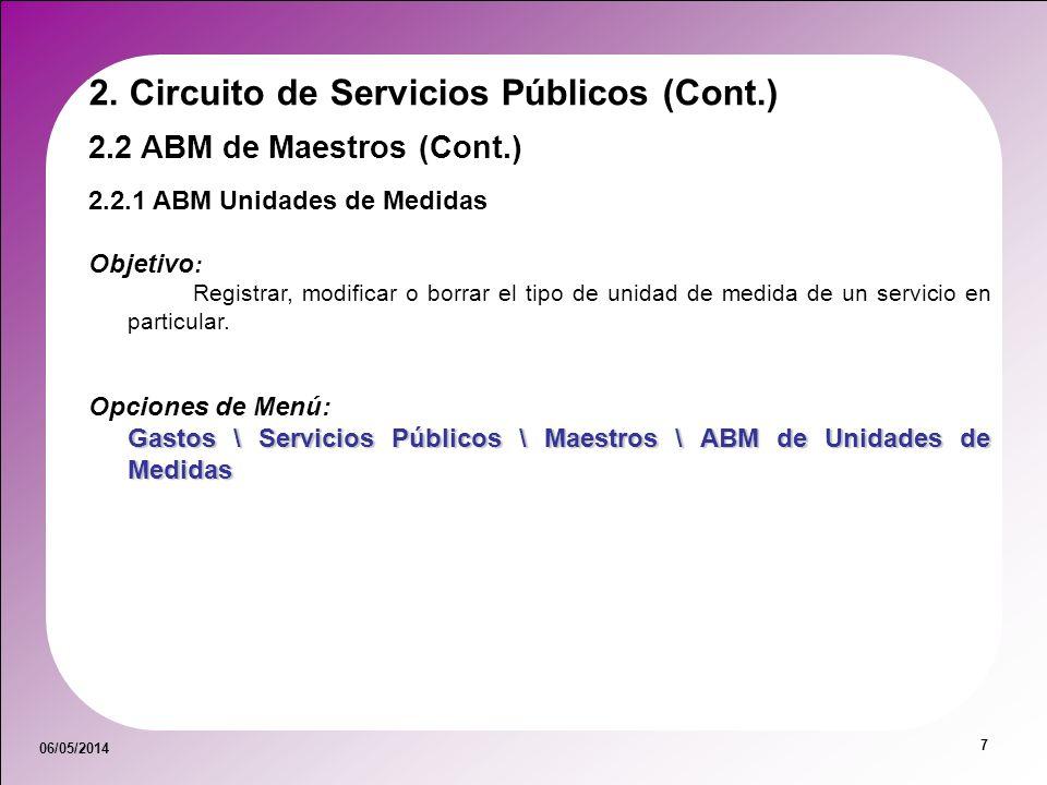 06/05/2014 7 2.2 ABM de Maestros (Cont.) 2.2.1 ABM Unidades de Medidas Objetivo : Registrar, modificar o borrar el tipo de unidad de medida de un serv