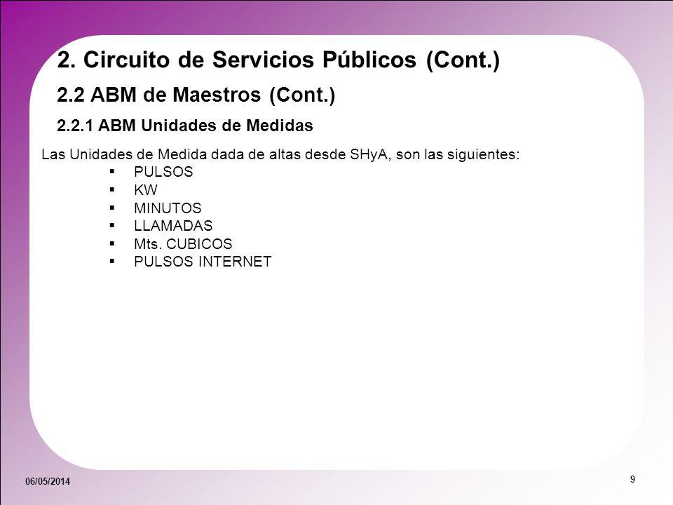 06/05/2014 9 2.2 ABM de Maestros (Cont.) 2.2.1 ABM Unidades de Medidas 2. Circuito de Servicios Públicos (Cont.) Las Unidades de Medida dada de altas