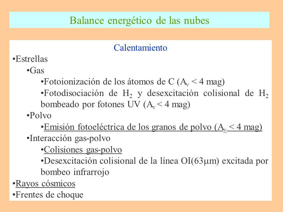 Calentamiento Estrellas Gas Fotoionización de los átomos de C (A v < 4 mag) Fotodisociación de H 2 y desexcitación colisional de H 2 bombeado por fotones UV (A v < 4 mag) Polvo Emisión fotoeléctrica de los granos de polvo (A v < 4 mag) Interacción gas-polvo Colisiones gas-polvo Desexcitación colisional de la línea OI(63 m) excitada por bombeo infrarrojo Rayos cósmicos Frentes de choque Balance energético de las nubes
