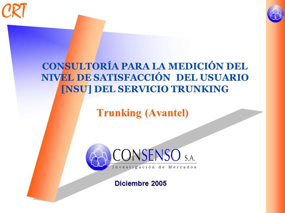 CONSULTORÍA PARA LA MEDICIÓN DEL NIVEL DE SATISFACCIÓN DEL USUARIO [NSU] DEL SERVICIO TRUNKING Trunking (Avantel) Diciembre 2005