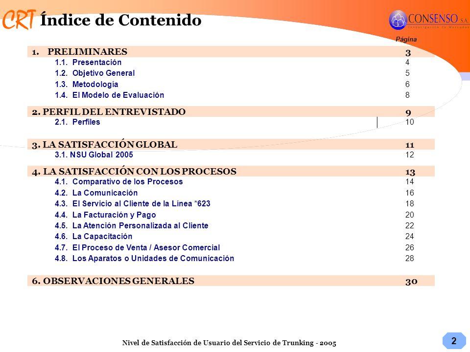 2 Nivel de Satisfacción de Usuario del Servicio de Trunking - 2005 Página 1.PRELIMINARES3 1.1. Presentación4 1.2. Objetivo General5 1.3. Metodología6