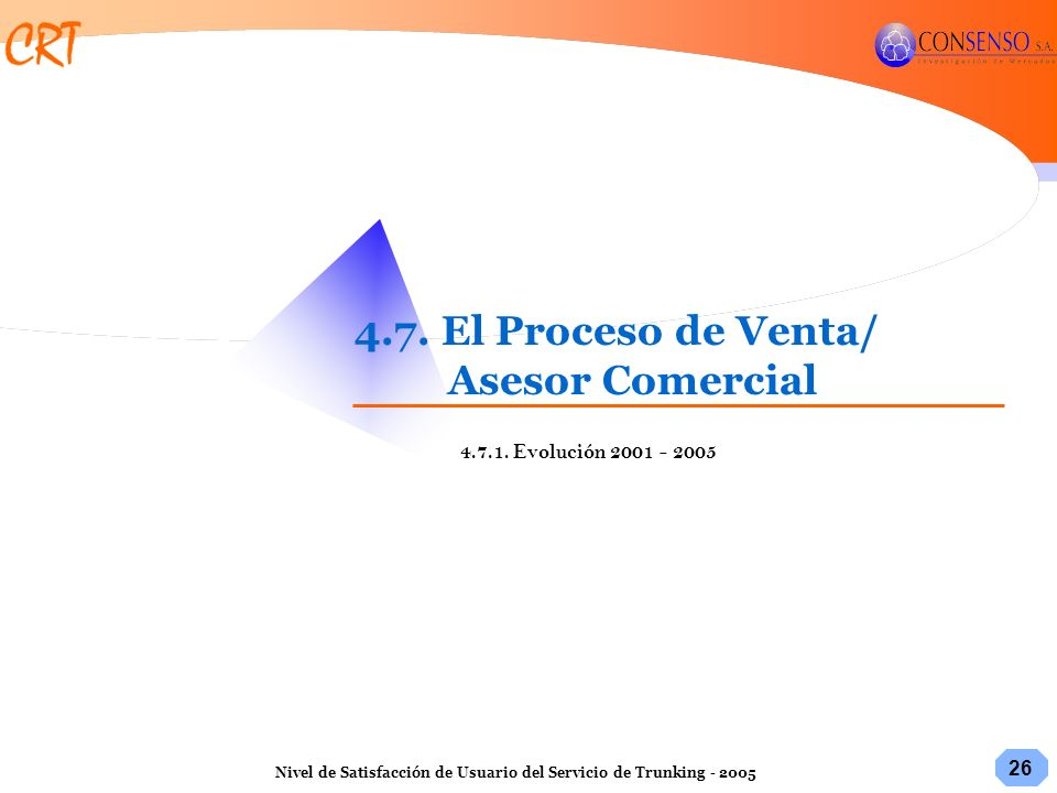 26 Nivel de Satisfacción de Usuario del Servicio de Trunking - 2005 4.7. El Proceso de Venta/ Asesor Comercial 4.7.1. Evolución 2001 - 2005