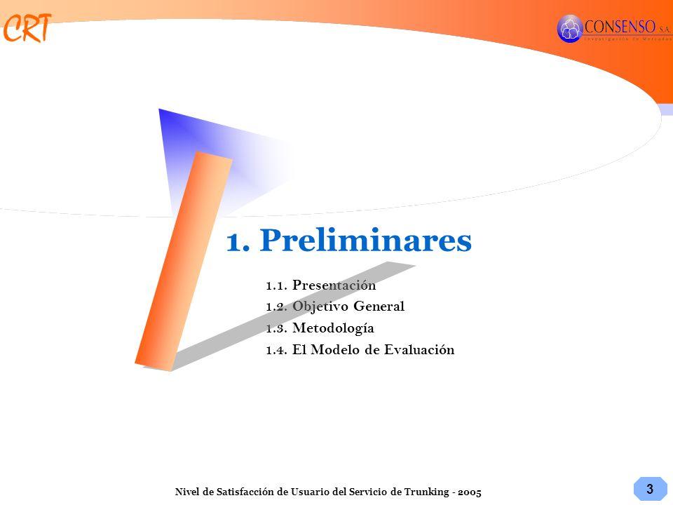 3 Nivel de Satisfacción de Usuario del Servicio de Trunking - 2005 1. Preliminares 1.1. Presentación 1.2. Objetivo General 1.3. Metodología 1.4. El Mo