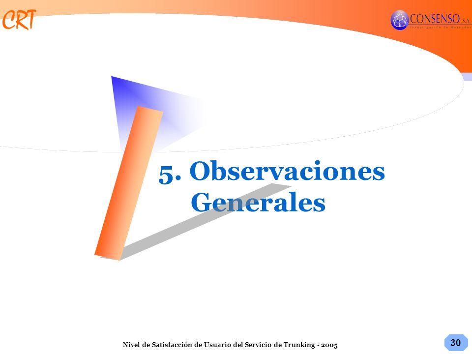 30 Nivel de Satisfacción de Usuario del Servicio de Trunking - 2005 5. Observaciones Generales